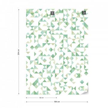 Modern Geometric Pattern Green Photo Wallpaper Wall Mural