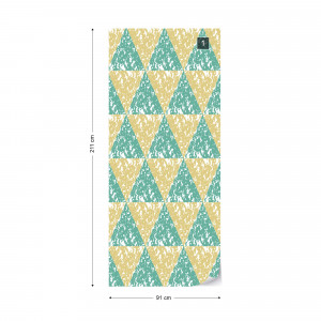 Modern Geometric Triangle Pattern Yellow Green Photo Wallpaper Wall Mural