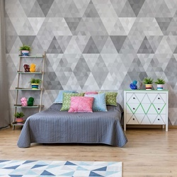 Modern Geometric Triangles Pattern Grey Photo Wallpaper Wall Mural