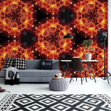 Modern Kaleidoscope Design Red Light Photo Wallpaper Wall Mural