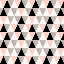Modern Pink And Black Geometric Triangle Pattern Photo Wallpaper Wall Mural