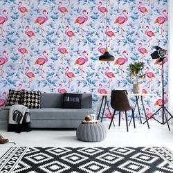 Modern Tropical Flamingo Pattern Blue Photo Wallpaper Wall Mural