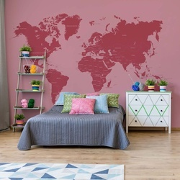 Modern World Map Red