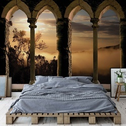 Mountain Sunrise Stone Archway View Photo Wallpaper Wall Mural