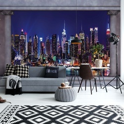 New York City Roman Column View Photo Wallpaper Wall Mural