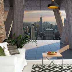New York City Skyline 3D Modern View Concrete Photo Wallpaper Wall Mural