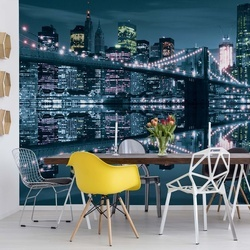 New York City Skyline At Night Brooklyn Bridge Blue Light Photo Wallpaper Wall Mural