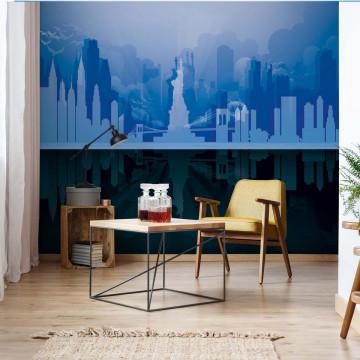 New York City Skyline Blue And Black Photo Wallpaper Wall Mural