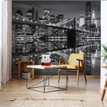 New York City Skyline Brooklyn Bridge Black And White Photo Wallpaper Wall Mural