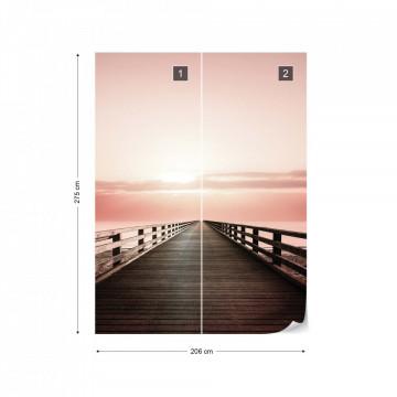 Ocean Pier Pink Sunset Photo Wallpaper Wall Mural