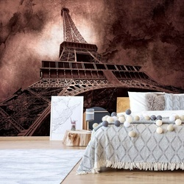 Paris Eiffel Tower Dark Sepia Photo Wallpaper Wall Mural