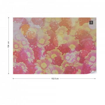 Pink Orange Flowers Photo Wallpaper Wall Mural
