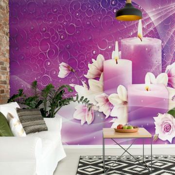 Pink Purple Spa Candles Photo Wallpaper Wall Mural