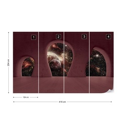 Planets Outer Space 3D Concrete Arches View Photo Wallpaper Wall Mural