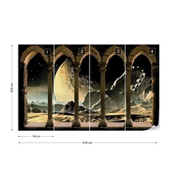 Planets Outer Space Stone Archway View Photo Wallpaper Wall Mural