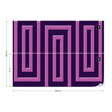 Purple Geometric Pattern Photo Wallpaper Wall Mural