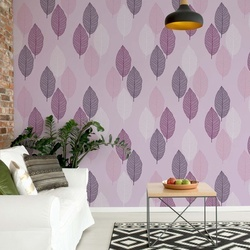 Purple Leaves Pattern Photo Wallpaper Wall Mural
