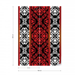 Red Black And White Ornamental Pattern Photo Wallpaper Wall Mural