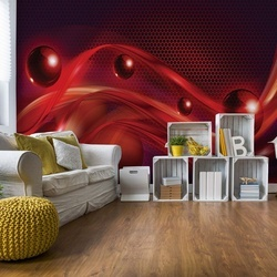 Red Modern Abstract Design Photo Wallpaper Wall Mural