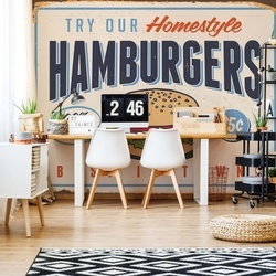 "Retro Sign ""Hamburgers"" Photo Wallpaper Wall Mural"