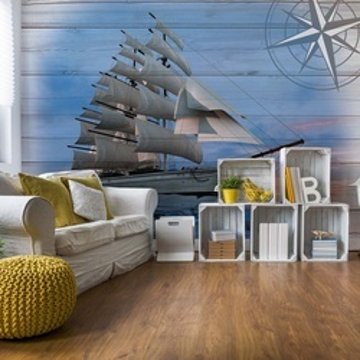 Rustic Sailing Ship Wood Planks Photo Wallpaper Wall Mural