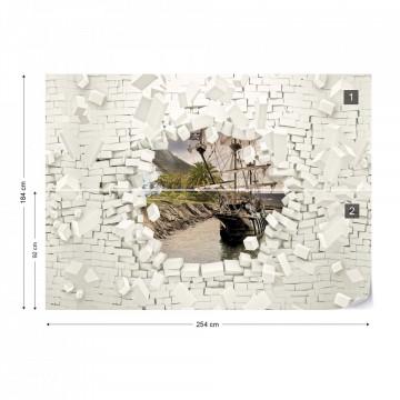 Ship Bursting Through Brick Wall Photo Wallpaper Wall Mural