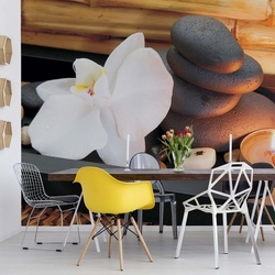 Spa Pebbles And Flowers Photo Wallpaper Wall Mural