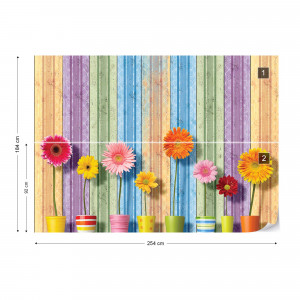 Sunny Flowers And Colourful Wood Planks Photo Wallpaper Wall Mural