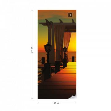 Sunset Paradise Sea Pier Photo Wallpaper Wall Mural