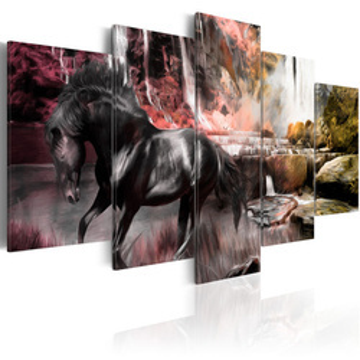 Tablou - Black horse on crimson sky background