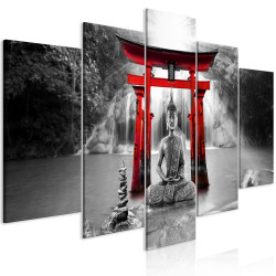 Tablou - Buddha Smile (5 Parts) Wide Red