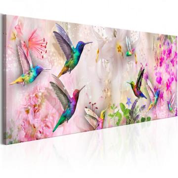 Tablou - Colourful Hummingbirds (1 Part) Narrow