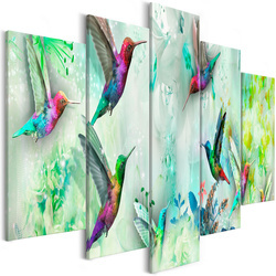 Tablou - Colourful Hummingbirds (5 Parts) Wide Green