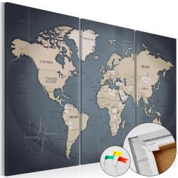 Tablou din plută - Anthracitic World [Cork Map]