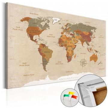 Tablou din plută - Beige Chic [Cork Map]