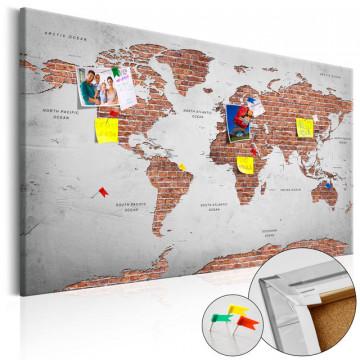 Tablou din plută - Brick World [Cork Map]