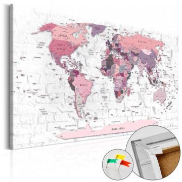 Tablou din plută - Pink Frontiers [Cork Map]