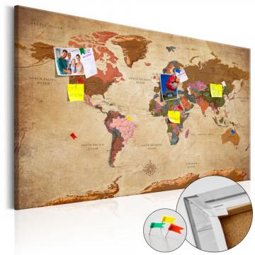 Tablou din plută - World Map: Brown Elegance [Cork Map]