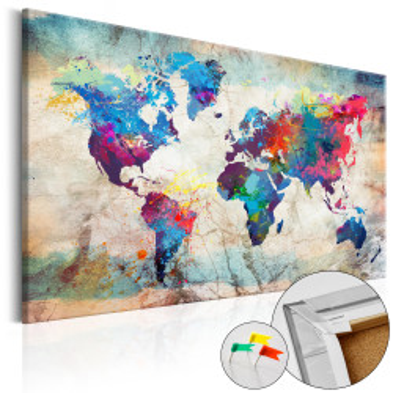 Tablou din plută - World Map: Colourful Madness [Cork Map]