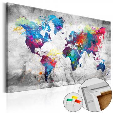 Tablou din plută - World Map: Grey Style [Cork Map]