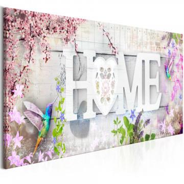 Tablou - Home and Hummingbirds (1 Part) Pink Narrow