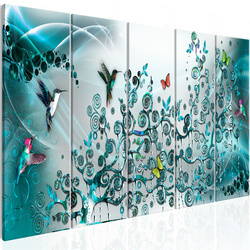 Tablou - Hummingbirds Dance (5 Parts) Turquoise Narrow