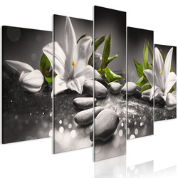 Tablou - Lilies and Stones (5 Parts) Wide Grey
