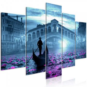 Tablou - Magic Venice (5 Parts) Wide Blue