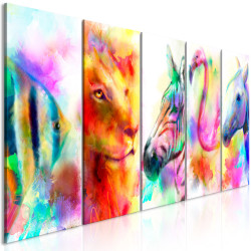 Tablou - Rainbow Watercolours (5 Parts) Narrow