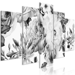 Tablou - Rose Composition (5 Parts) Wide Black and White