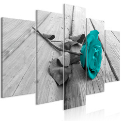Tablou - Rose on Wood (5 Parts) Wide Turquoise