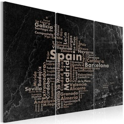 Tablou - Text map of Spain on the blackboard - triptych