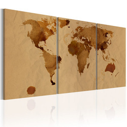 Tablou - The World map in color of coffee