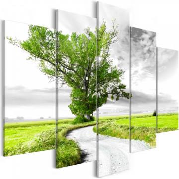 Tablou - Tree near the Road (5 Parts) Green